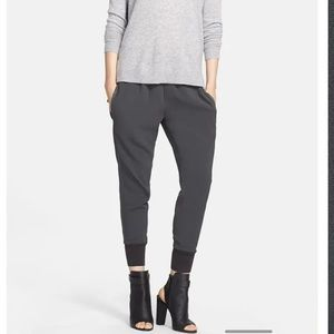 VINCE silky ribbed cuff joggers with tuxedo stripe